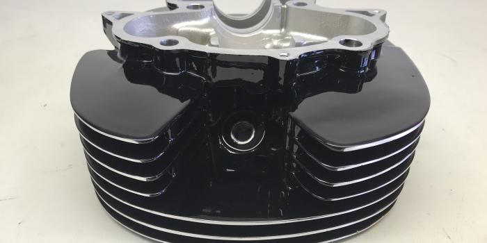 YAMAHA-SR400-Chuck Boxビックフィン加工シリンダーヘッド エンジン パウダーコート施工(粉体塗装)